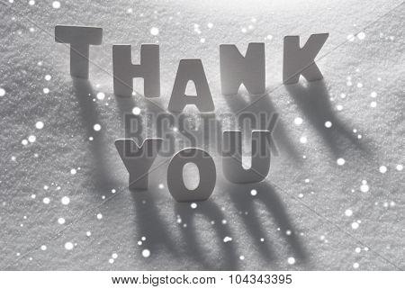 White Word Thank You On Snow, Snowflakes