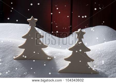 Two White Wooden Christmas Trees, Snow, Snowflakes