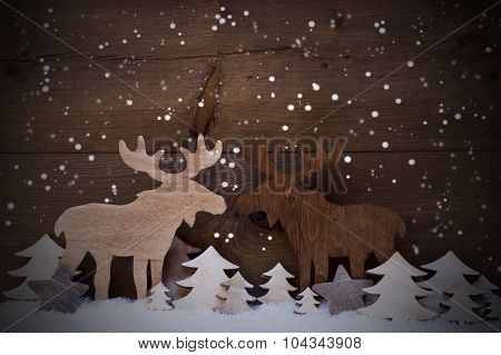Christmas Decoration, Moose Couple In Love, Trees And Snowflakes