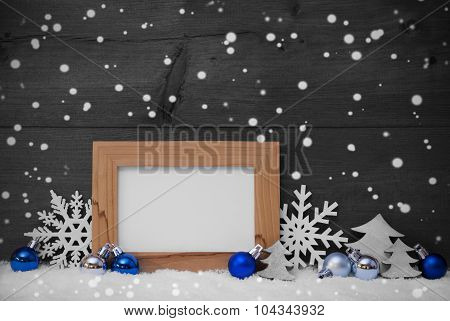 Blue Gray Christmas Decoration, Snow, Copy Space, Snowflakes