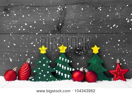 Gray Christmas Card With Green Trees And Red Balls, Snowflakes