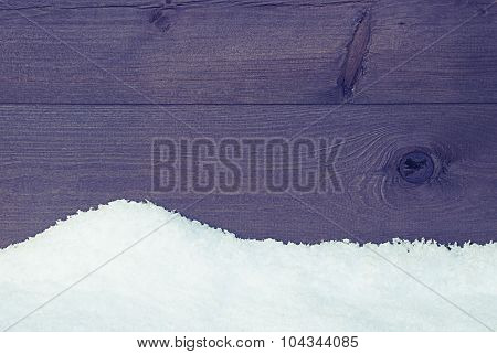 Brown Wooden Texture Or Background With Snow, Vintage Style
