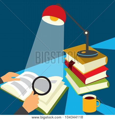 Reading a book illustration