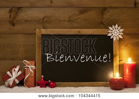 Festive Christmas Card, Blackboard, Snow, Bienvenue Mean Welcome