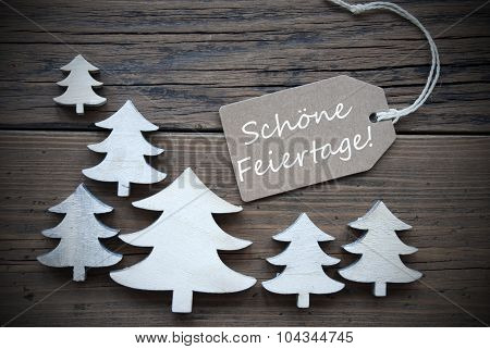 Label Trees Schoene Feiertage Mean Merry Christmas