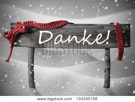 Christmas Sign Danke Mean Thank You, Snow, Ribbon, Snowflakes