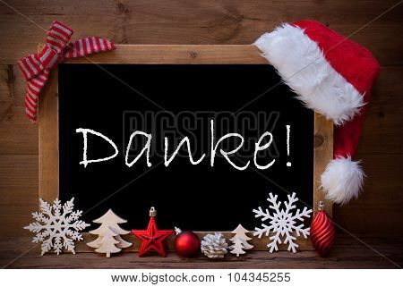 Brown Christmas Blackboard Santa Hat Danke Means Thank You