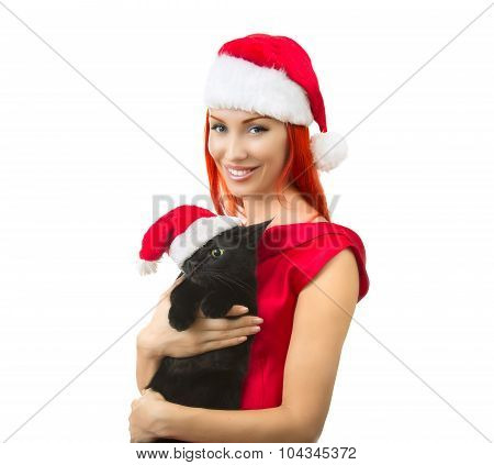 Woman In Santa Claus Hat With Cat Santa - Cute Christmas Cat, Christmas Pet With Santa Claus Hat