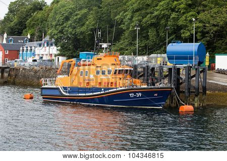 ISLE OF MULL, SCOTLAND - JULY 31st 2015: Lifeboat in Tobermory Harbour, Isle of Mull, Scottish Highlands.