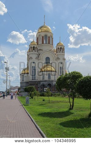YEKATERINBURG, RUSSIA - AUGUST 17, 2013. Church on Blood in Honour of All Saints Resplendent in the Russian land