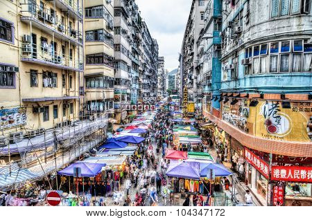 Street Market In Hong Kong, China