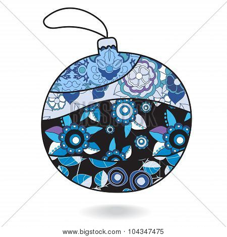Stock Vector Christmas Decorative Isolated Boll.patchwork Design