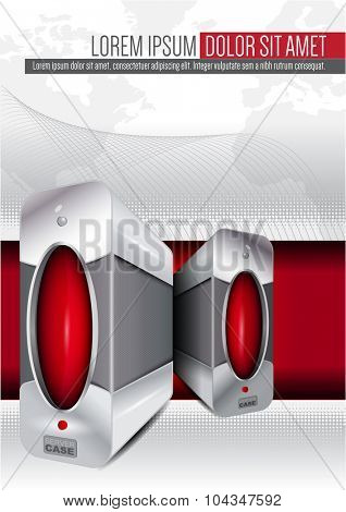Abstract vector background for brochure or poster with a computer or server case