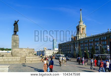 The Building Of The Administration Of Yekaterinburg And A Statue Of Lenin On The Square Of 1905