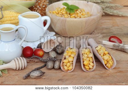 Corn milk and fresh sweet corn juice delicious