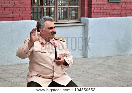 Actor In The Image Of Stalin Near The Kremlin