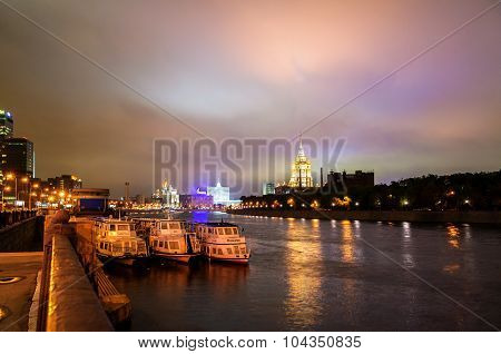 MOSCOW, RUSSIA - AUGUST 14, 2012. View of the Moscow at night with waterfront Russia