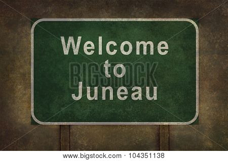 Welcome To Juneau Roadside Sign Illustration