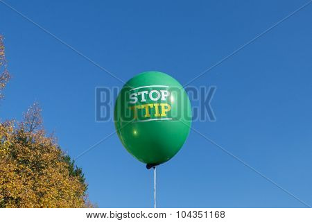 Stop ttip slogan on balloon
