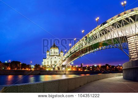 Christ The Savior Cathedral And Patriarshy Bridge - Night View, Moscow, Russia