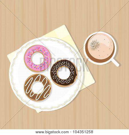 Macchiato With Sweet Glazed Donuts.
