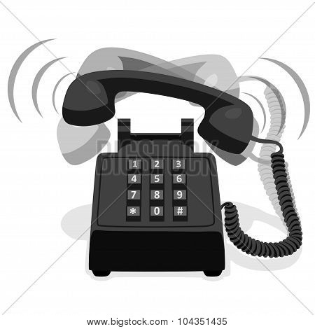 Ringing Black Stationary Phone With Button Keypad