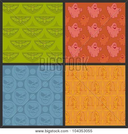 Set Of Halloween Vector Seamless Patterns.
