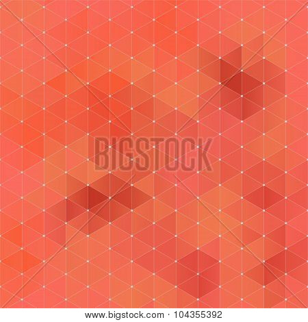 Orange Abstract Geometric Rumpled Triangular Background Low Poly Style