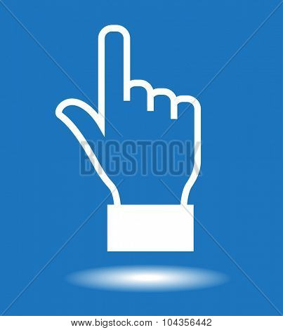 Hand cursor icon.  White icon on blue background