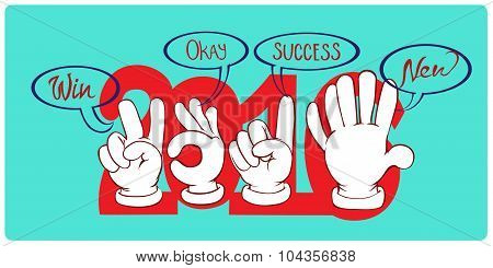 Gestures By Hands Which Are Wishes In New Year.