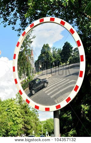 Mirror In Cross Street For Improving Visibility
