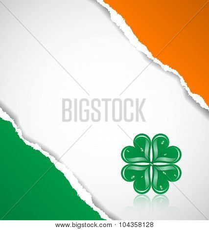 Irish Flag Background With Clover