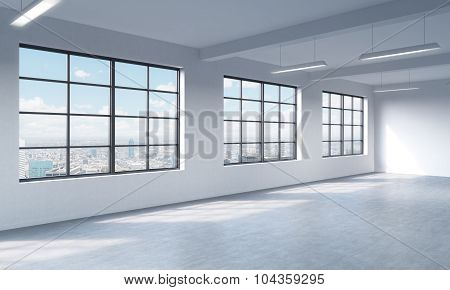 Loft Style Open Space Can Be Used Wether Office Space Or Residential One. 3D Rendering. Huge Windows