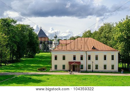 VELIKY NOVGOROD, RUSSIA - AUGUST 18, 2014. Building Umpire town in the Novgorod Kremlin, Veliky Novgorod, Russia