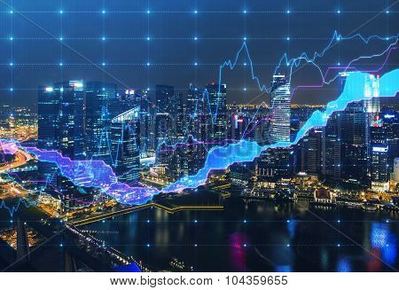 Panoramic Evening New York View With The Digital Financial Chart. A Concept Of The Professional Fina