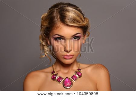 beautiful girl with blond hair in  Luxurious Necklace