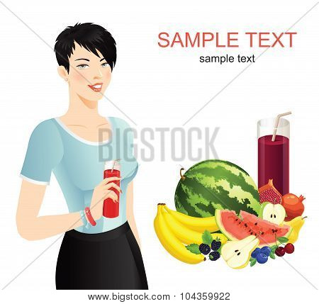Woman with drink and vegetable set