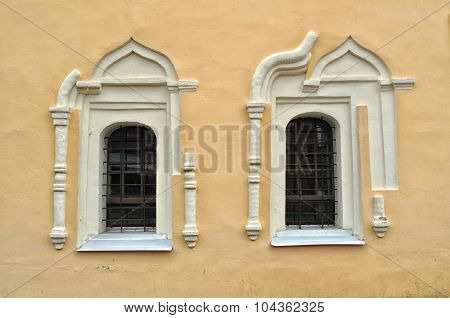 Ancient Windows In The St.nikita Building In Veliky Novgorod, Russia