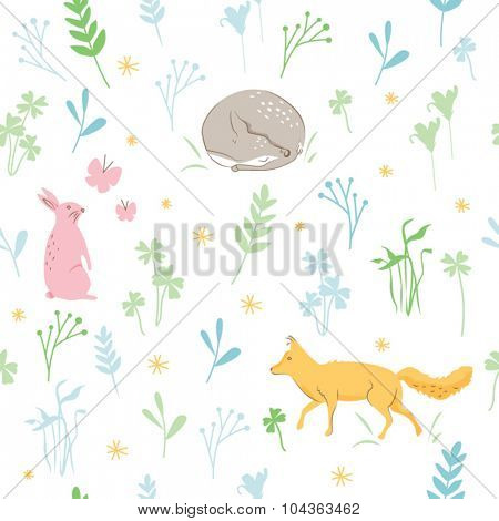 CUTE PETS AT NATURE SEAMLESS PATTERN. Childish background. Editable and repeatable vector file.