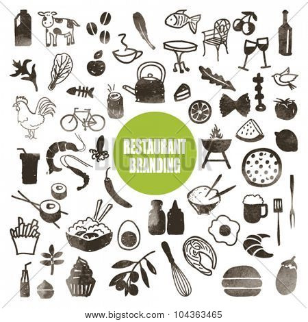 RESTAURANT BRAND DESIGN ELEMENTS. Pattern, icons, symbols. Hand drawn with ink texture. Vector file.