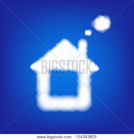 House From Clouds In Blue Sky With Gradient Mesh, Vector Illustration