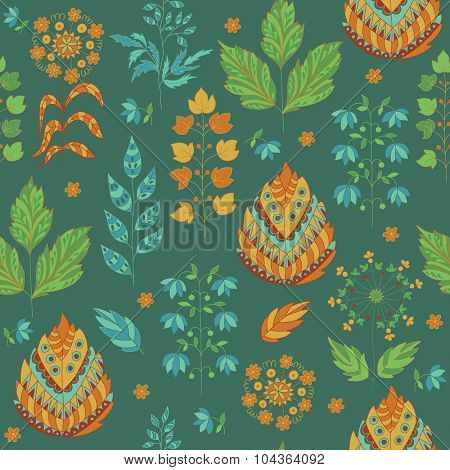 Seasonal Seamless Pattern with Leaves and Flower. Herbal Ornament.