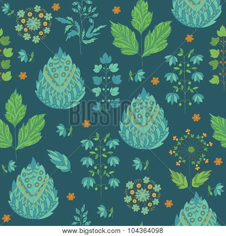 Abstract Seamless Pattern with Leaves and Flower. Herbal Ornament and Wallpaper.