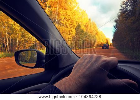 Driving at a wheel the car.Travel countryside. Fall. The photo is tinted in a retro style.