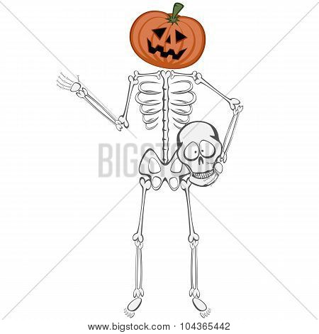 Skeleton Buddy with a Pumpkin