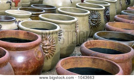 Picture Or Photo Of Rows Of Clay Flower Pots For Sale In Openair Market