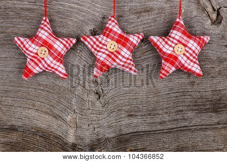 Red Fabric Star Merry Christmas Decoration Rustic Wood Background
