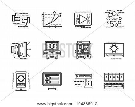 Flat line media vector icons set