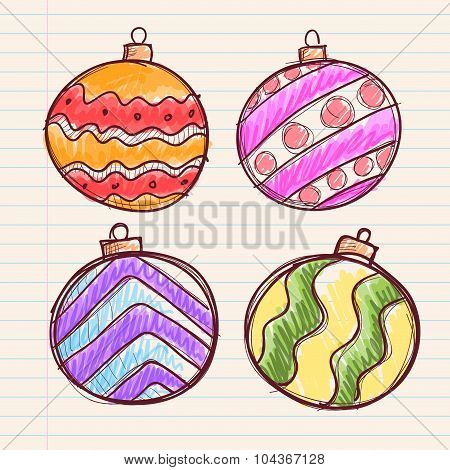 Hand Drawing Of Christmasl Ball Decoration On Paper