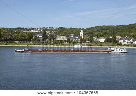 Remagen - River Rhine With Freighter